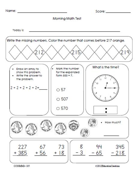 Worksheets Morning Work Worksheets morning math common core grade 2
