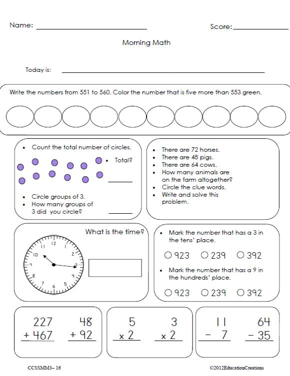 Printables Morning Math Worksheets morning math common core grade 3