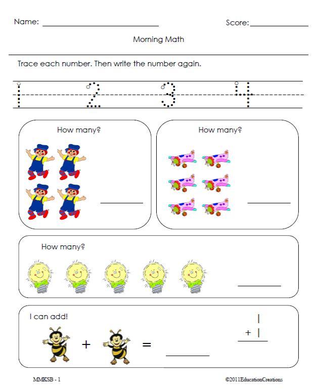 math worksheet : morning math : Morning Math Worksheets